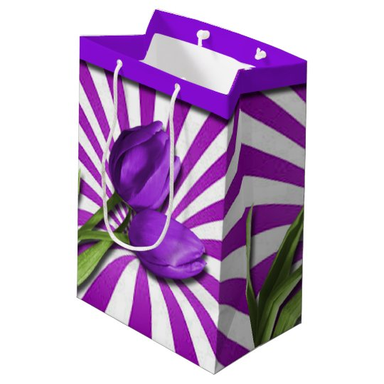 Purple Tulips & Stripes Medium Gift Bag