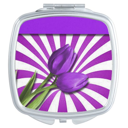 Purple Tulips & Stripes Mirror For Makeup