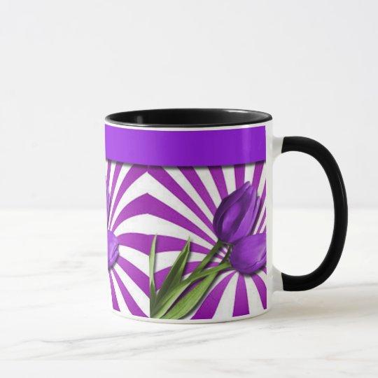 Purple Tulips & Stripes Mug