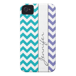 Purple & Turquoise Chevron Name iPhone 4/4s iPhone 4 Cover