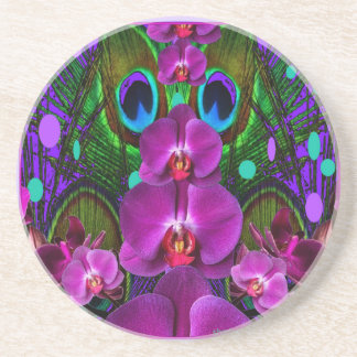 Purple-Turquoise Color Orchid Pattern Gifts Drink Coaster