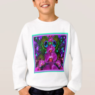 Purple-Turquoise Color Orchid Pattern Gifts Sweatshirt