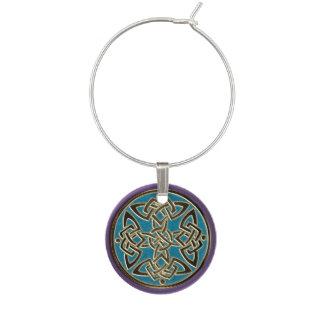 Purple Turquoise Gold Celtic Dara Knot Wine Charm