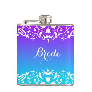 Purple & Turquoise Gradient With White Lace Flasks