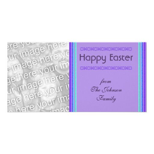 purple turquoise Happy Easter Customized Photo Card