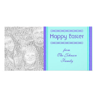 purple turquoise Happy Easter Picture Card