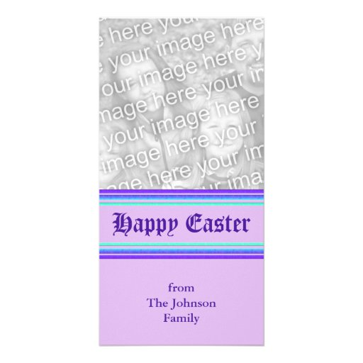 purple turquoise Happy Easter Photo Card