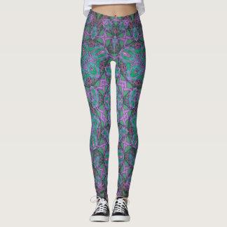 purple/turquoise kaleidoscope leggings