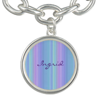 Purple Turquoise Rainbow Pastel Charm Bracelet