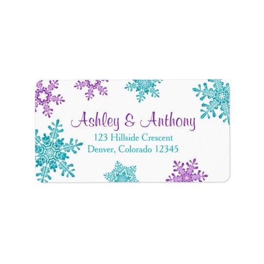 Purple Turquoise Snowflake Wedding Return Address