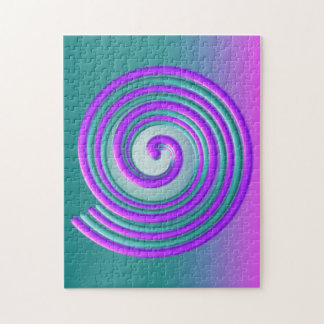 Purple Turquoise Spiral Jigsaw Puzzle