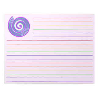 Purple Turquoise Spiral Notepad Paper