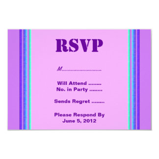 Purple turquoise stripe RSVP Card