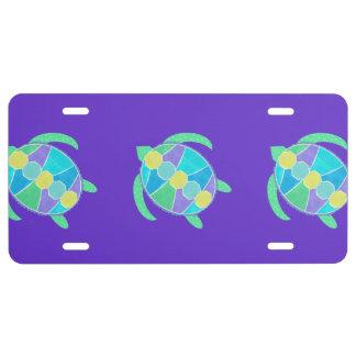Purple Turtle License Plate
