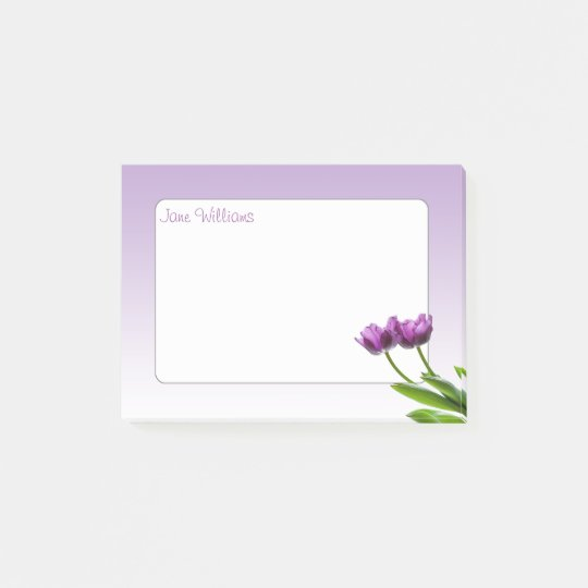 Purple Twin Tulips Spring Floral Isolated Photo Post-it Notes