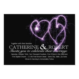 Purple Two Hearts Sparklers Wedding Invitation