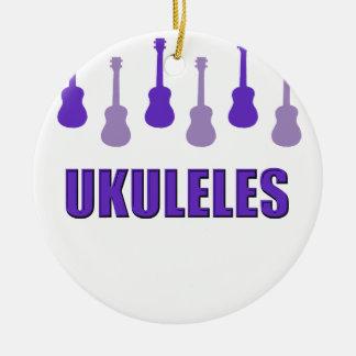 Purple Ukuleles Ceramic Ornament