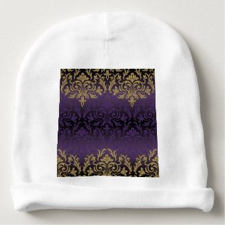 purple,ultra violet,damask,vintage,pattern,gold,ch baby beanie