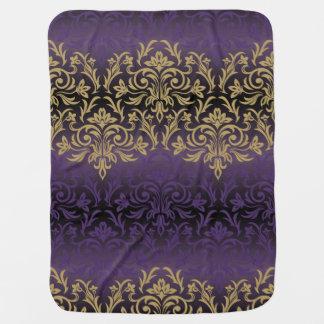 purple,ultra violet,damask,vintage,pattern,gold,ch baby blanket
