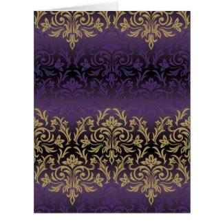 purple,ultra violet,damask,vintage,pattern,gold,ch card