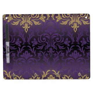 purple,ultra violet,damask,vintage,pattern,gold,ch dry erase board with keychain holder