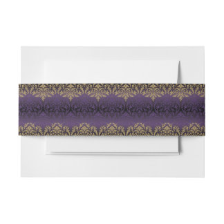 purple,ultra violet,damask,vintage,pattern,gold,ch invitation belly band