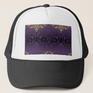 purple,ultra violet,damask,vintage,pattern,gold, trucker hat