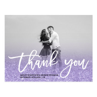 Purple ultra violet glitter ombre photo thank you postcard