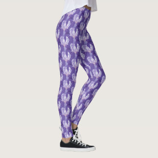 Purple ultra violet iris art pattern leggings