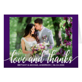 Purple Ultra Violet Wedding Love and Thanks Fold Card