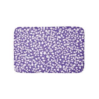 Purple Ultra Violet White Flowers Floral Branches Bath Mat