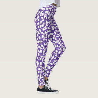 Purple Ultra Violet White Flowers Floral Branches Leggings