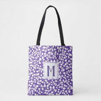 Purple Ultra Violet White Flowers Floral Branches Tote Bag