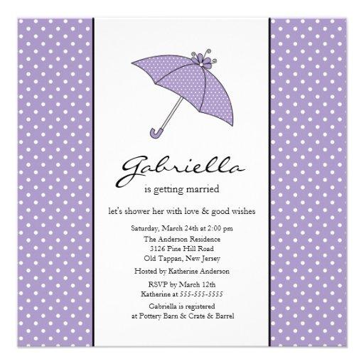 Purple Umbrella Bridal Shower Invitation