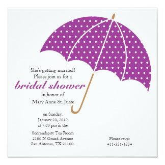 purple umbrella Classic Bridal Shower invitation