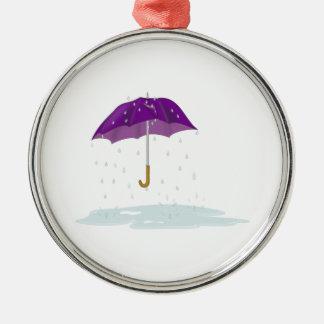 Purple Umbrella in the Rain Metal Ornament