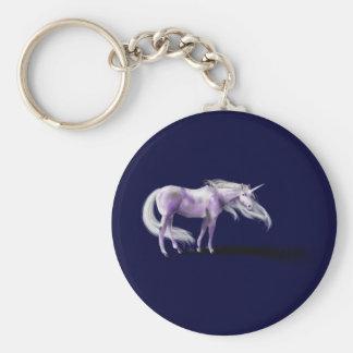 Purple Unicorn Badge Basic Round Button Keychain
