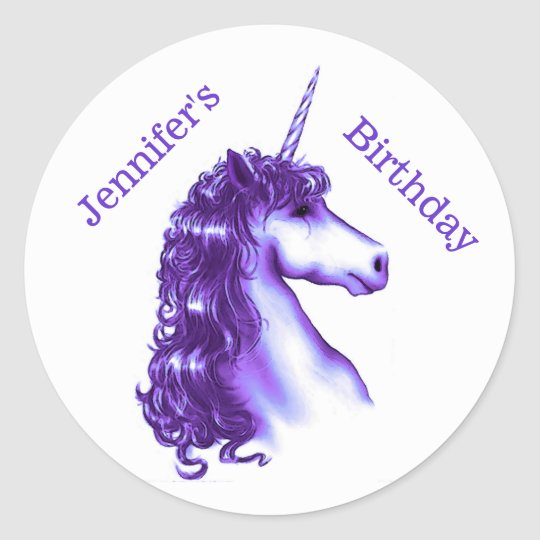 Purple Unicorn Birthday Sticker