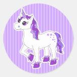 Purple Unicorn Cartoon Round Sticker