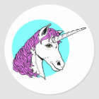 Purple Unicorn Classic Round Sticker