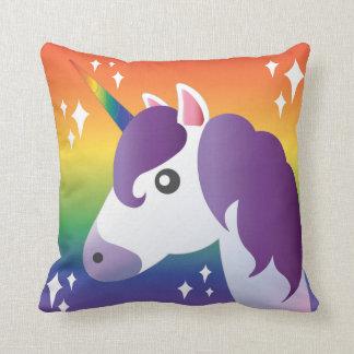 Purple Unicorn Emoji Sparkle with Rainbow Pillow