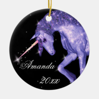 Purple Unicorn Fantasy Ceramic Ornament