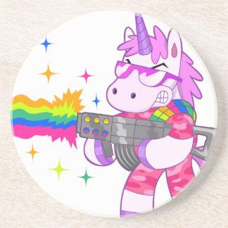 Purple Unicorn - Gun Beverage Coasters