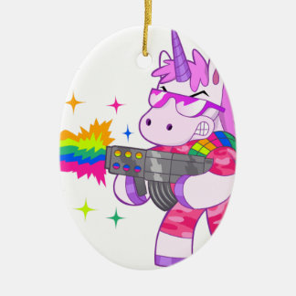 Purple Unicorn - Gun Ceramic Ornament