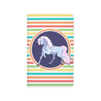 Purple Unicorn on Bright Rainbow Stripes Journals