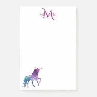 Purple unicorn on white monogrammed post-it notes