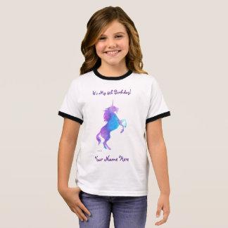 Purple Unicorn Ringer T-Shirt