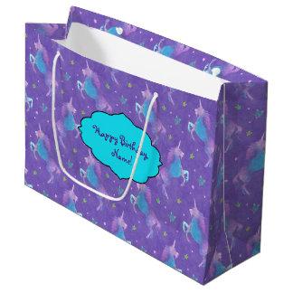Purple Unicorns Pink Stars Large Gift Bag