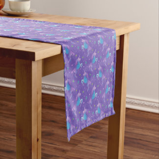 Purple Unicorns Pink Stars Medium Table Runner