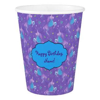 Purple Unicorns Pink Stars Paper Cup